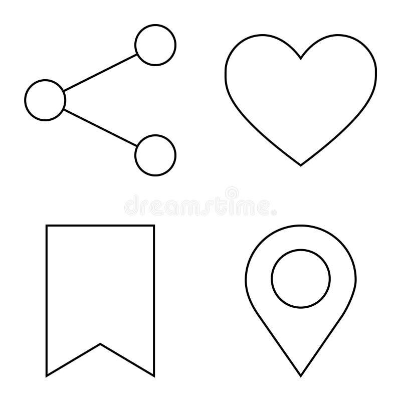 Простой набор линии значков вектора тонкой иллюстрация штока