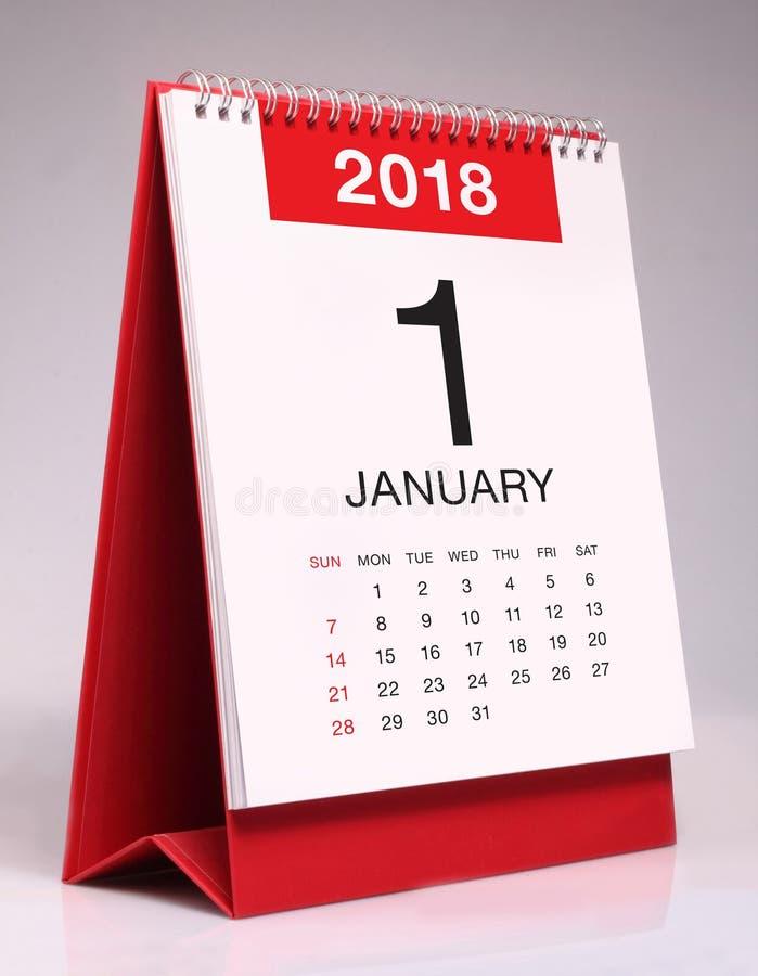 Простой настольный календарь 2018 - январь стоковые изображения rf