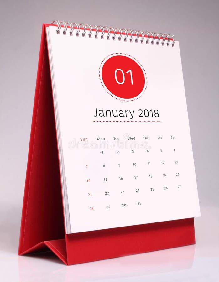 Простой настольный календарь 2018 - январь стоковое фото rf