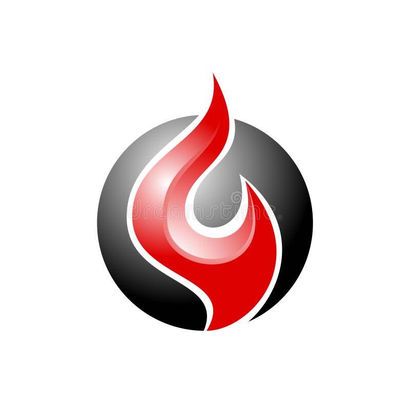 Простой огонь конспекта логотипа с цветом для деловой компании иллюстрация штока