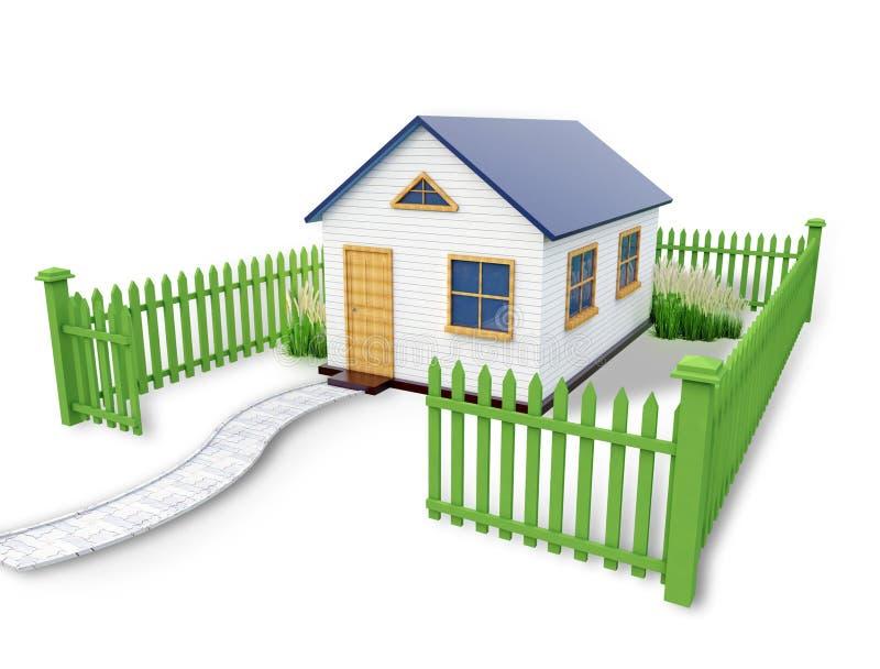 Простой дом 3D иллюстрация вектора