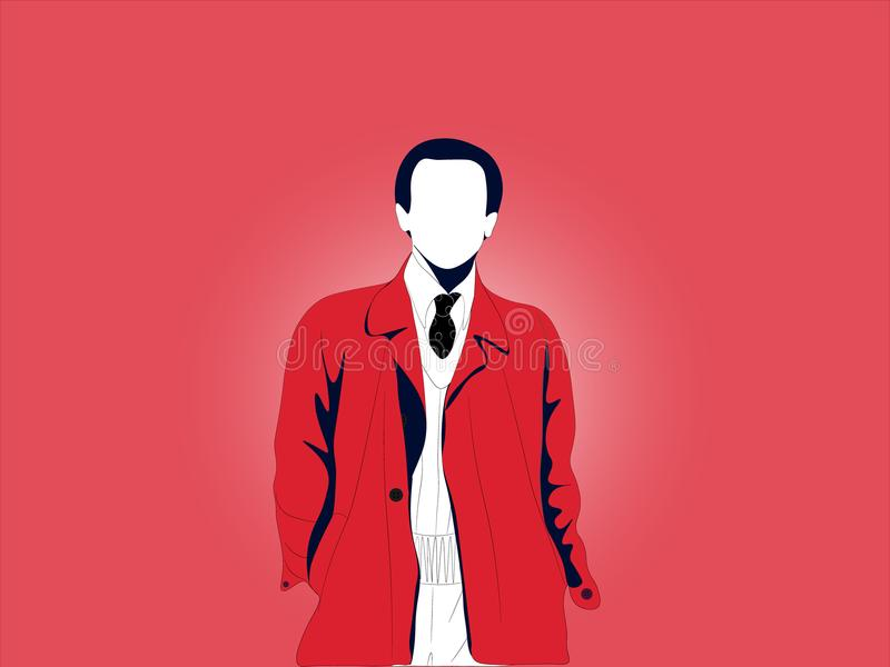 Простой основной проиллюстрированный взрослый человек без стороны с красным пальто, черным галстуком, и белой рубашкой бесплатная иллюстрация