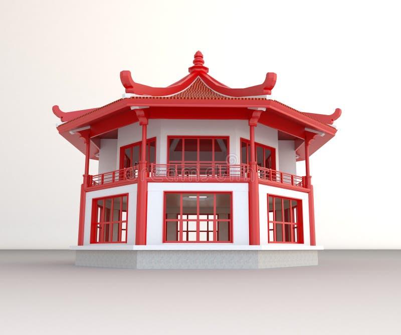 Простой павильон китайца 3D иллюстрация вектора