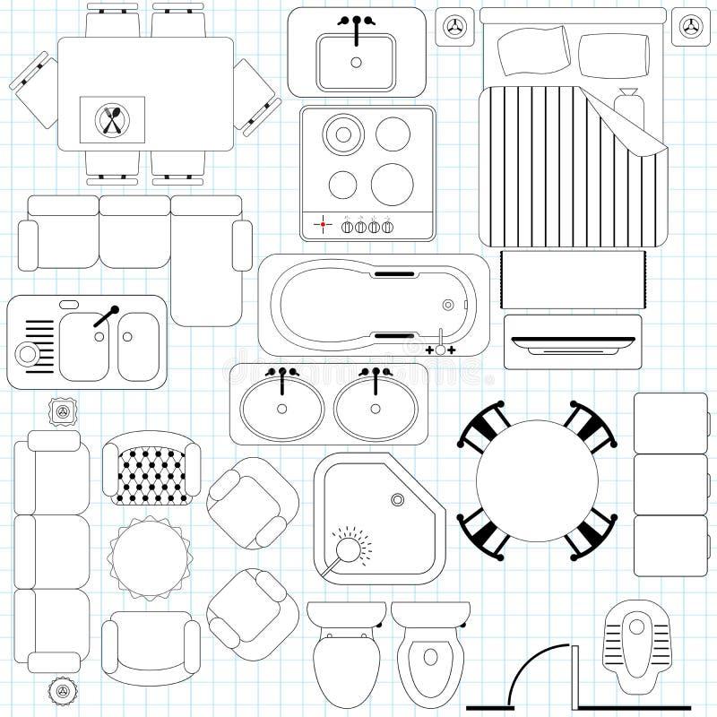Простой план мебели/пола иллюстрация вектора