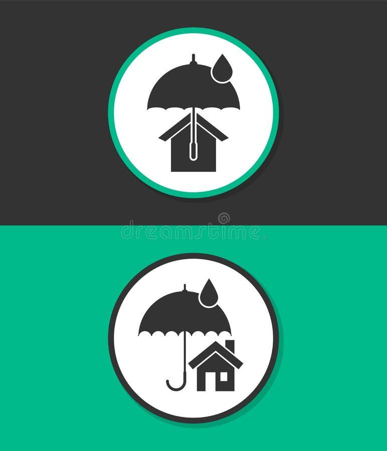 Простой плоский значок вектора Дом с значком вектора зонтика символ абстрактного архитектурноакустического имущества состава реал иллюстрация штока