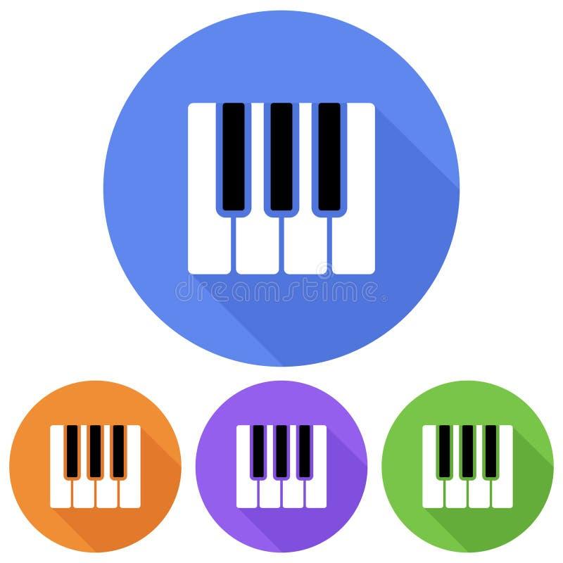 Простой, плоский, круговой рояль пользуется ключом значок 4 изменения цвета, бросая тень бесплатная иллюстрация