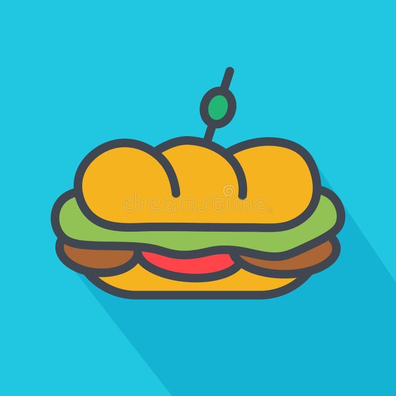 Простой, плоский, малый под значок сандвича Бросать тень Изолированный на свет-голубой предпосылке иллюстрация штока