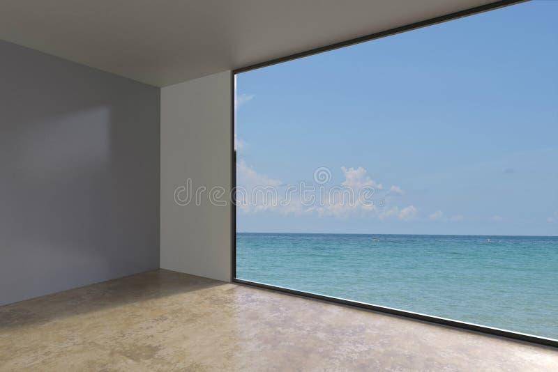 Простой пустой жить комнаты крытый на виде на море стоковые фотографии rf