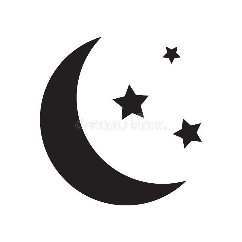 Простой плоский значок луны и звезд иллюстрация вектора