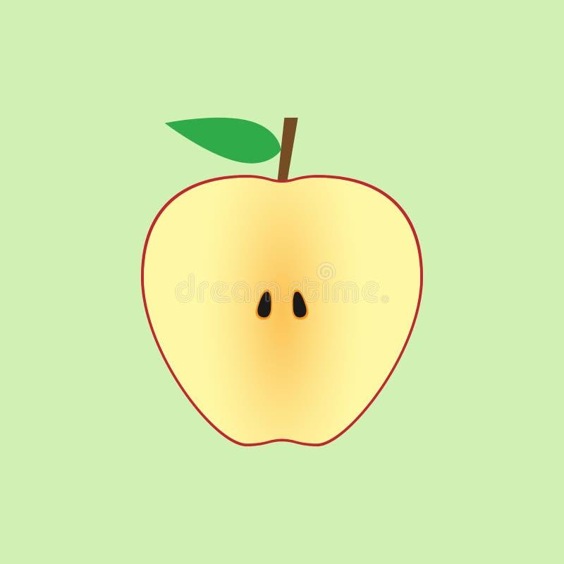 Простой плоский отрезок яблока бесплатная иллюстрация
