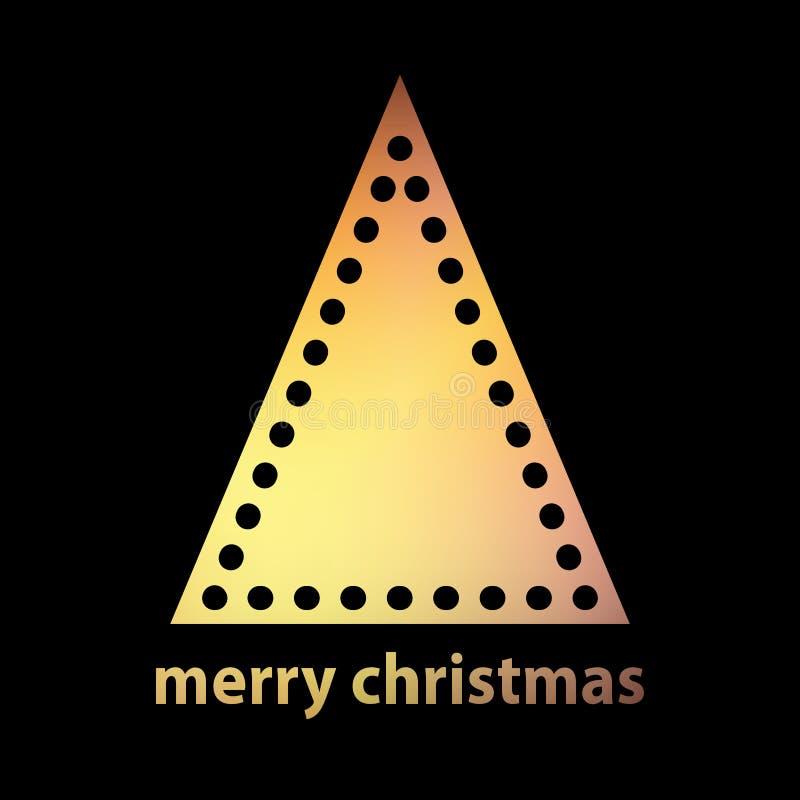 Простой силуэт золота рождественской елки иллюстрация вектора