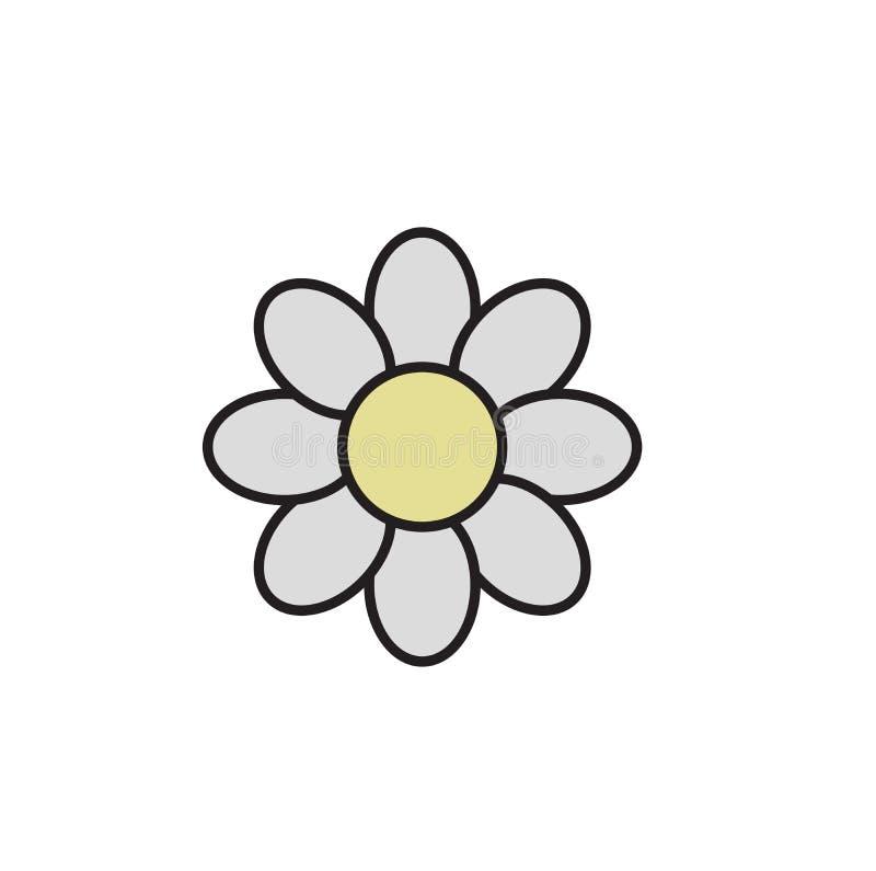 Простой стоцвет маргаритки Значок стоцвета Значок дизайна шаржа Плоская иллюстрация вектора белизна изолированная предпосылкой иллюстрация штока