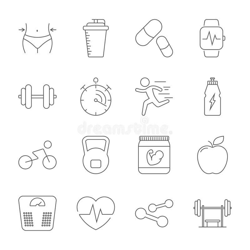 Простой установленный спорт, фитнес, оборудование спортзала связал линия значки вектора Тренировка фитнеса, культуризм, гантели,  иллюстрация штока