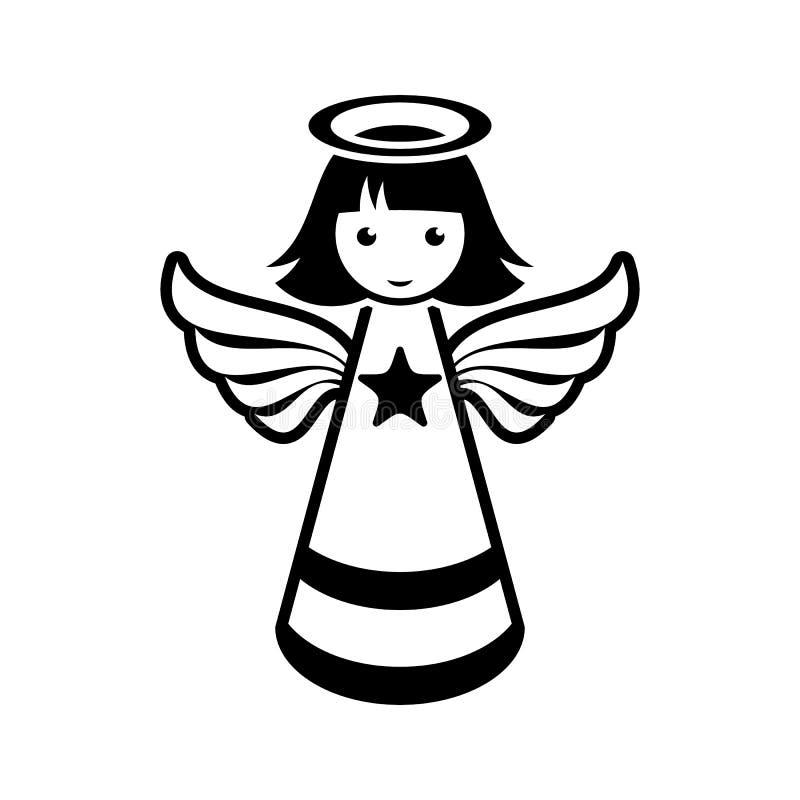 Простой черный значок ангела рождества вектора иллюстрация вектора