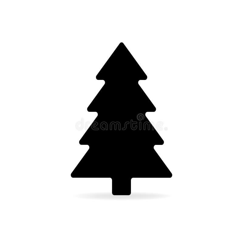 Простой черный плоский значок вектора рождественской елки изолированный с shado иллюстрация вектора