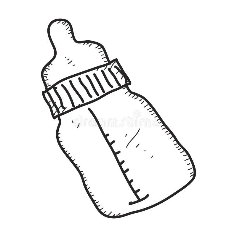 Простой doodle бутылки молока младенцев иллюстрация вектора