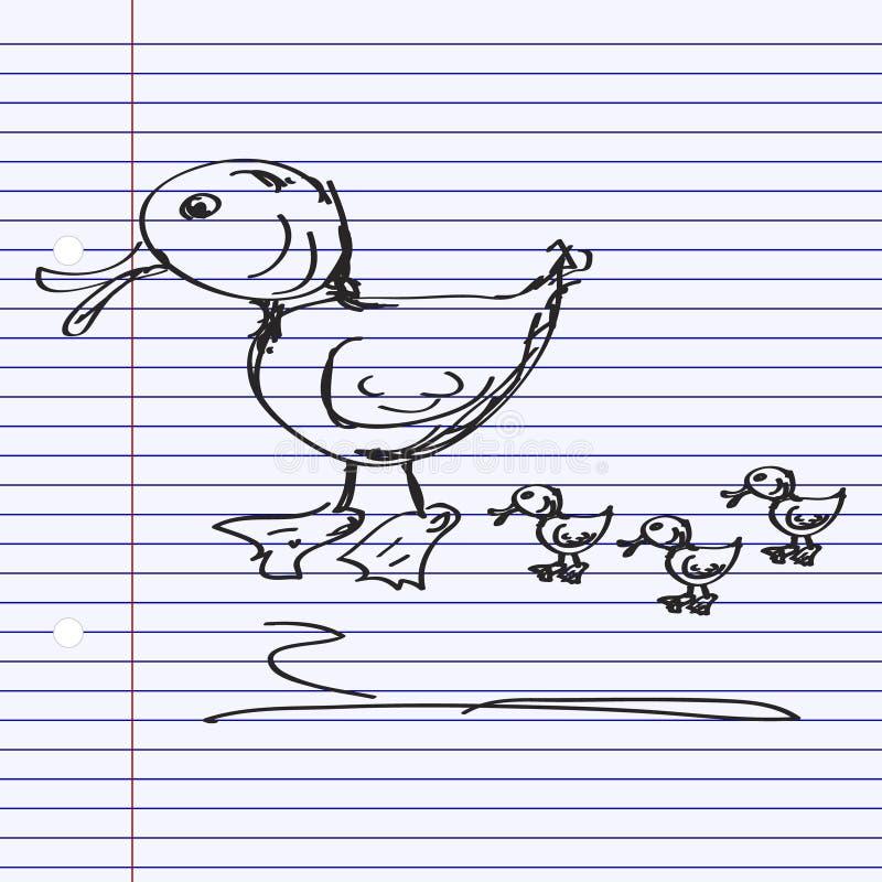 Простой doodle утки иллюстрация вектора