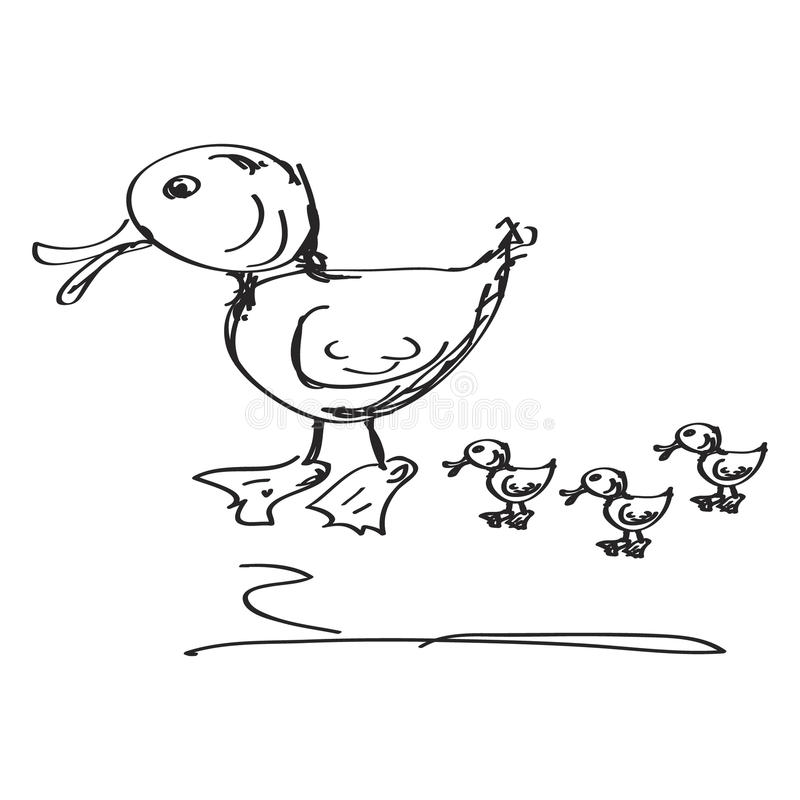 Простой doodle утки иллюстрация штока