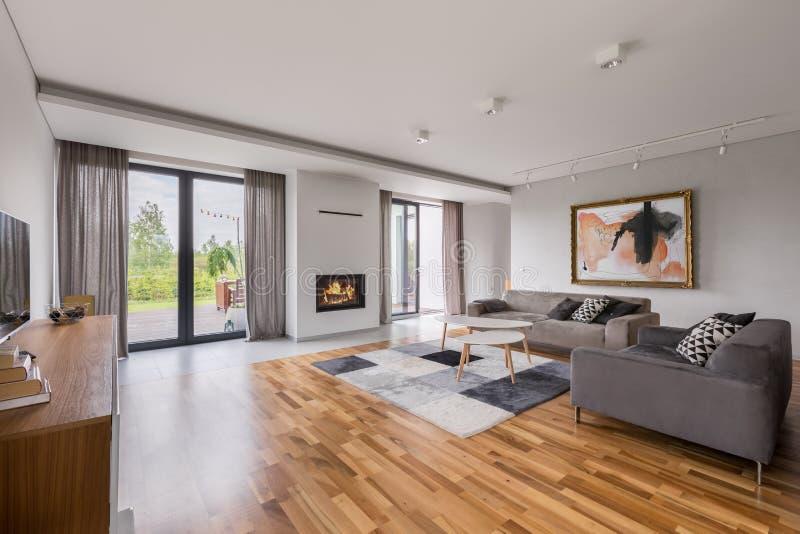 Просторная живущая комната с софой стоковое фото rf