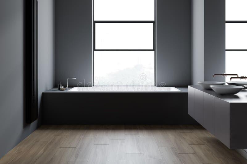Просторная квартира темная - серый bathroom, двойная раковина и ушат иллюстрация штока