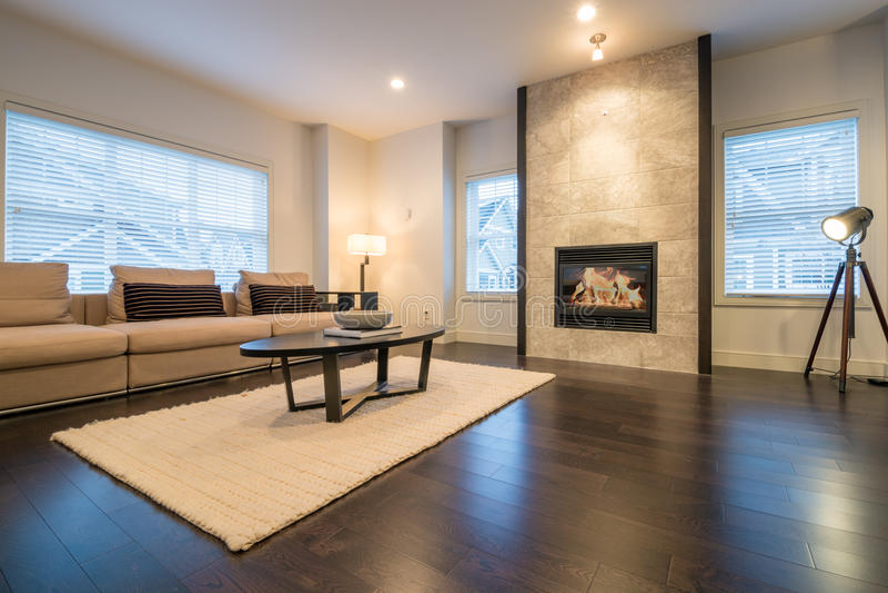 Просторная яркая живущая комната в роскошном доме стоковая фотография rf