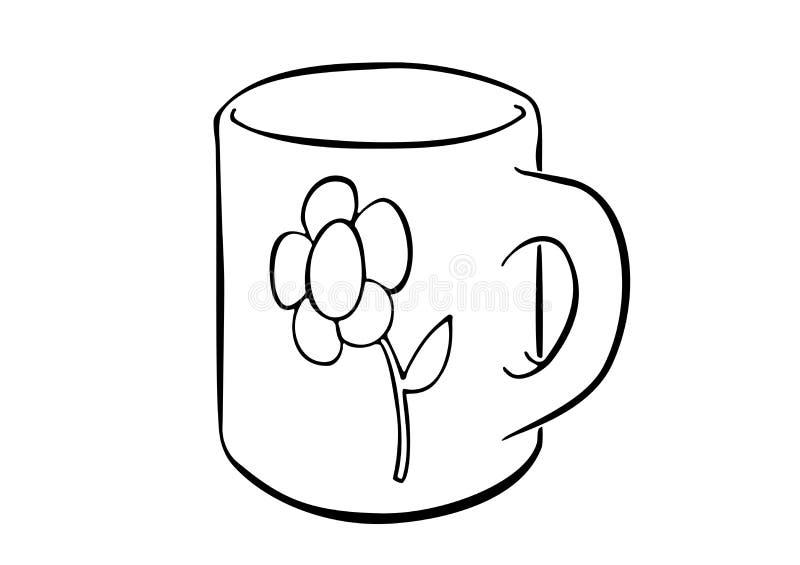 Просто вычерченная кружка украшенная с цветком бесплатная иллюстрация