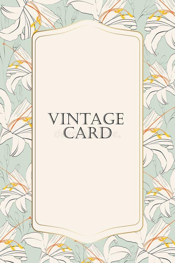 Простую линию лилии, можно использовать как поздравительная открытка, карточка приглашения для wedding, день рождения и другие пр иллюстрация штока