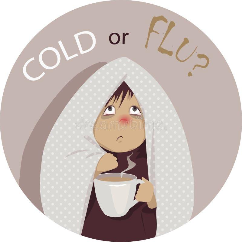 Простуда или грипп? иллюстрация штока