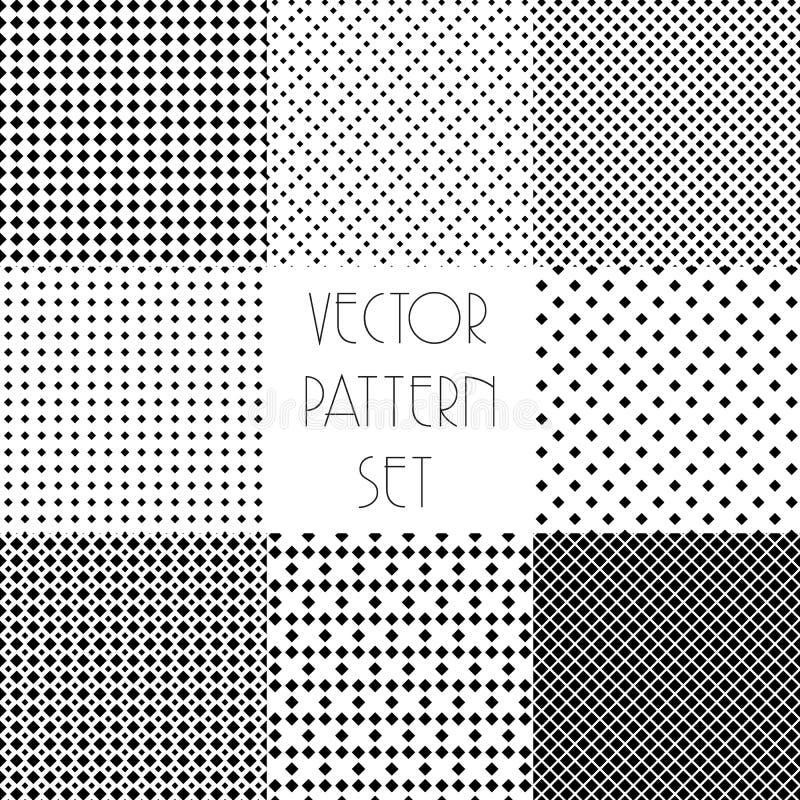 Простые геометрические картины Безшовное повторяя собрание вектора Черно-белая текстура установленная с косоугольником бесплатная иллюстрация