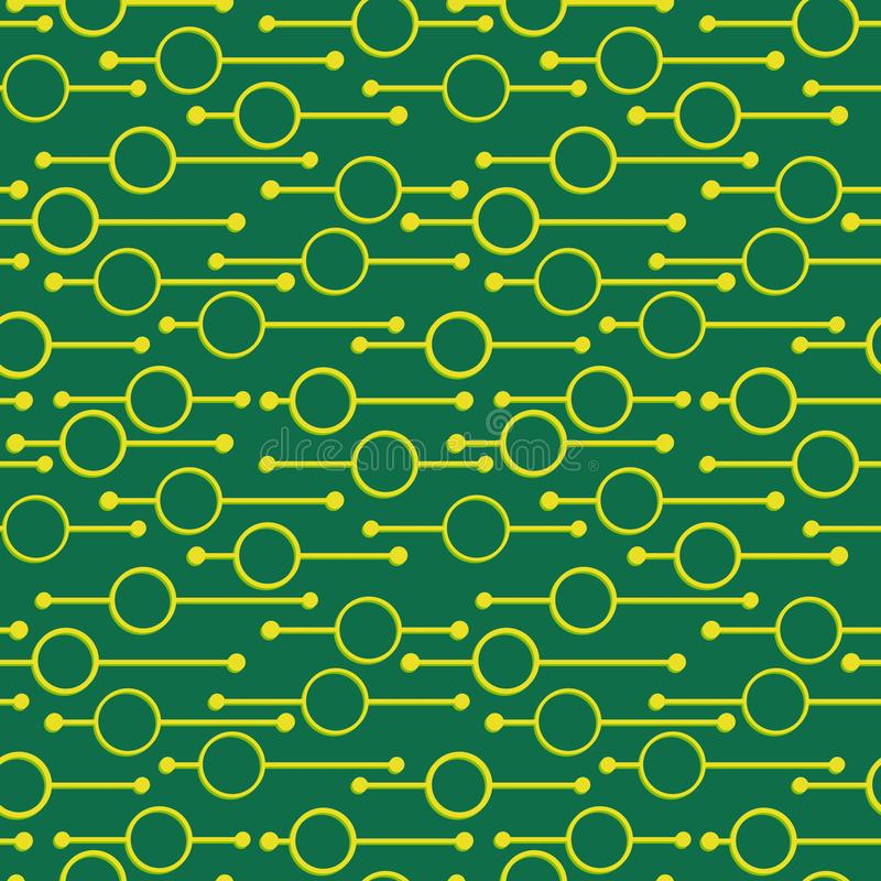 Простые геометрические накаляя круги и линии на темной ой-зелен предпосылке Кричащие света на картинах вектора конспекта безшовны иллюстрация вектора