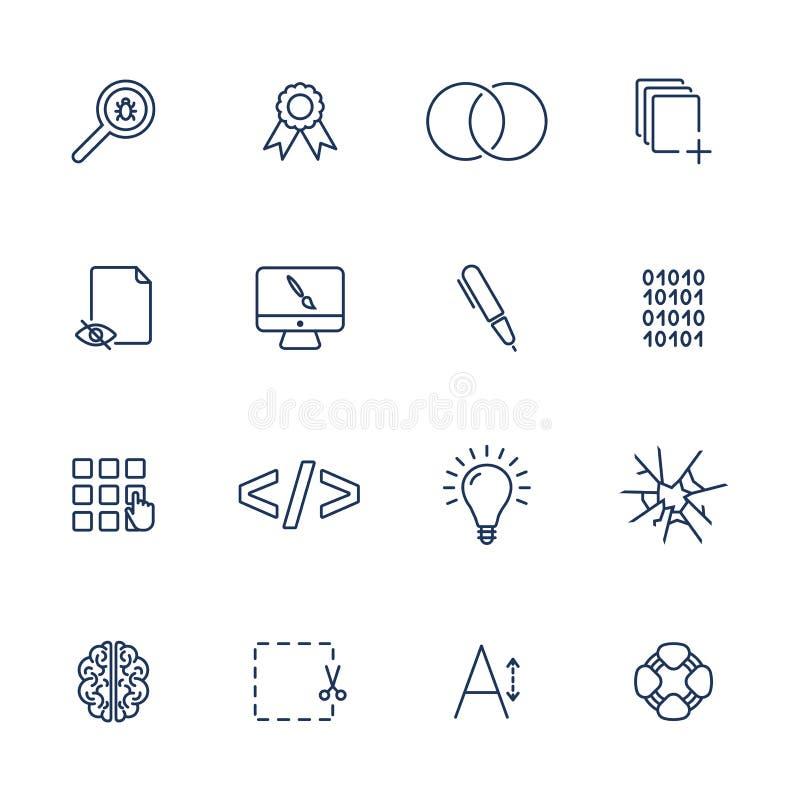 Простые значки для приложения, места UI, программы Различные значки UI Простые пиктограммы на белой предпосылке бесплатная иллюстрация