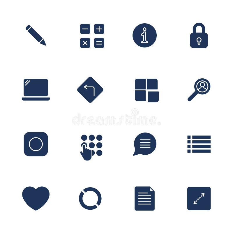 Простые значки для приложения, места UI, программы Различные значки UI Простые пиктограммы на белой предпосылке иллюстрация вектора