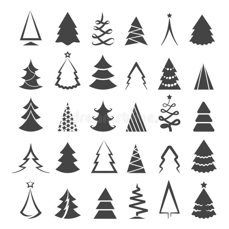 Простые значки рождественской елки бесплатная иллюстрация