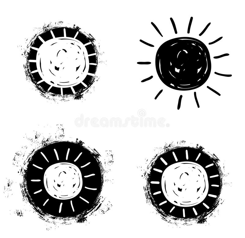 Простые значки чертежа солнца вектора в плоском стиле иллюстрация вектора