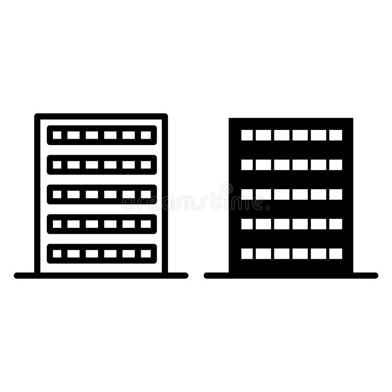 Простые линия построения и значок глифа Иллюстрация вектора конструкции изолированная на белизне Дизайн стиля плана квартиры иллюстрация штока