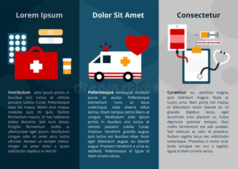 Простые медицинские значки символа для знамени и плаката сети иллюстрация штока