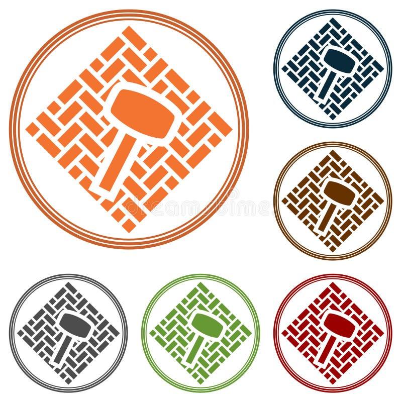 Простые плоские значок или логотип вектора для каменных вымощая обслуживаний Мушкел лежит на поверхности прямоугольных кирпичей г иллюстрация штока