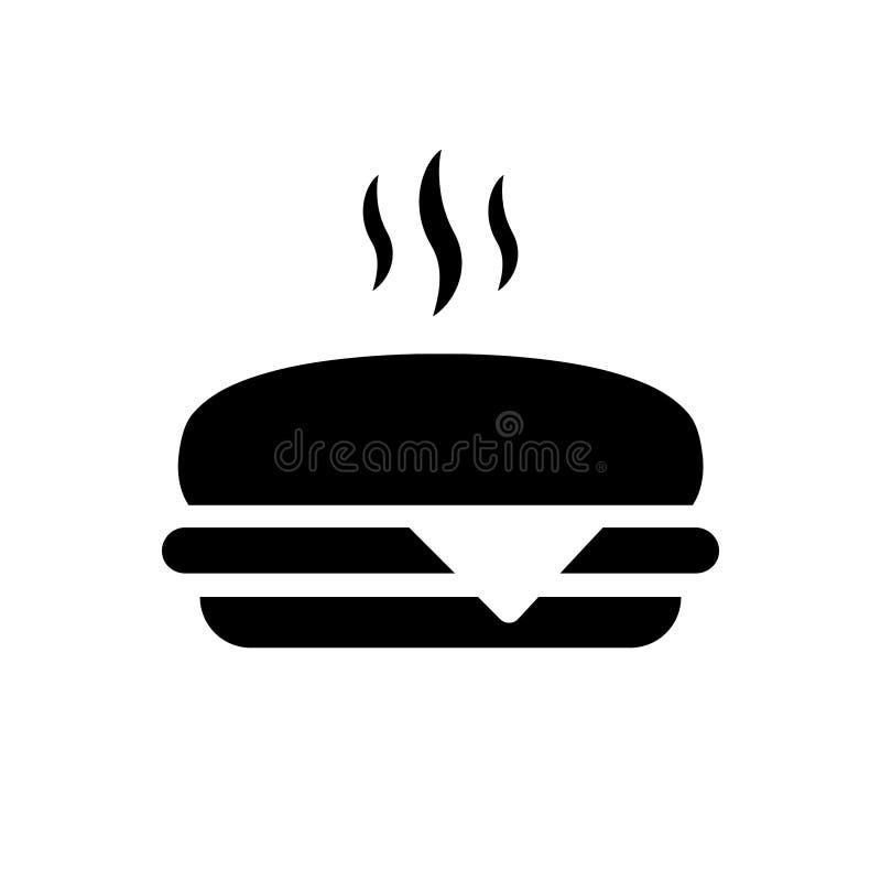 Простые, плоские, черные иллюстрация силуэта/значок горячего cheeseburger Изолировано на белизне иллюстрация штока