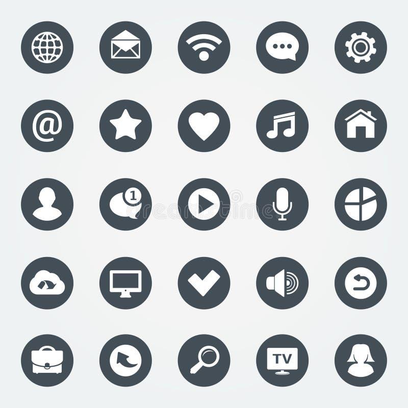 Простые установленные значки сети Всеобщий значок сети, который нужно использовать в сети и передвижных apps иллюстрация вектора