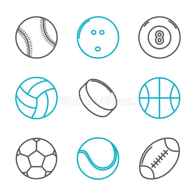 Простые ультрамодные установленные значки спорта бесплатная иллюстрация