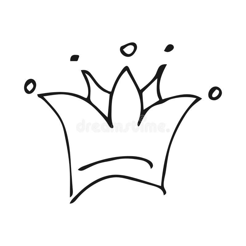 Простые ферзь эскиза граффити или крона короля иллюстрация вектора
