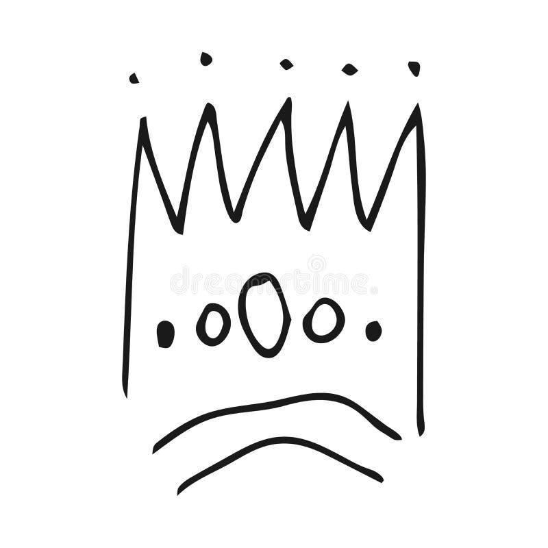 Простые ферзь эскиза граффити или крона короля иллюстрация штока