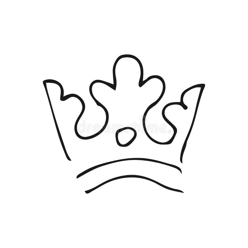 Простые ферзь эскиза граффити или крона короля бесплатная иллюстрация