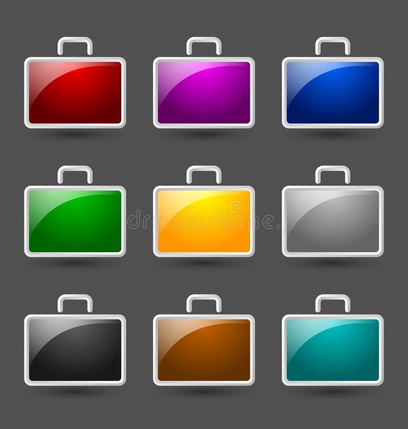 Иконы чемодана иллюстрация вектора