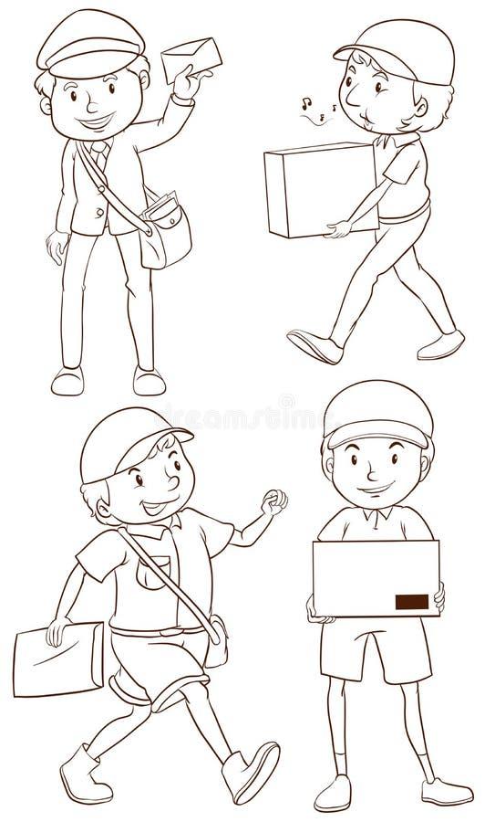 Простый чертеж почтальона бесплатная иллюстрация