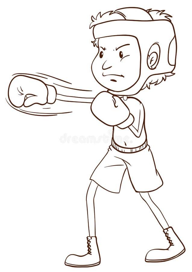 Простый эскиз боксера бесплатная иллюстрация