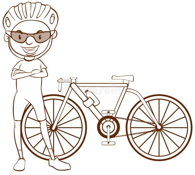 Простый эскиз велосипедиста иллюстрация вектора