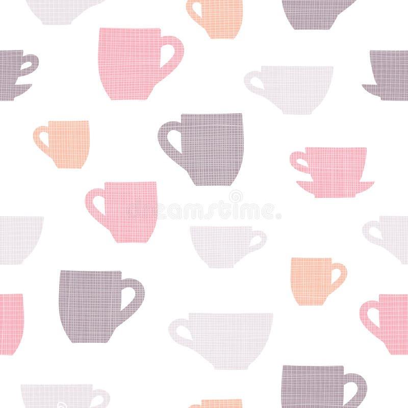 Простым текстурированная бельем картина повторения вектора чашек стоковое фото