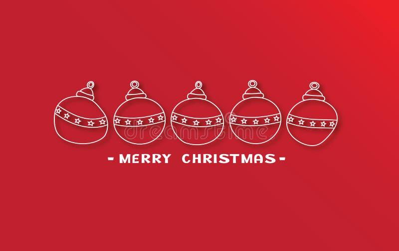 5 простых шариков рождества на красной предпосылке иллюстрация штока