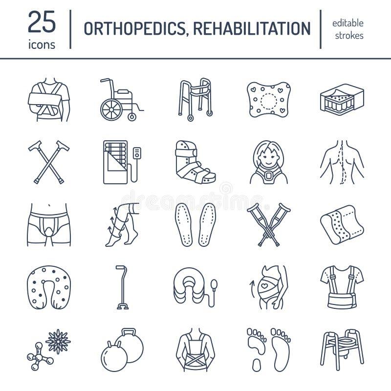 Протезный, линия значки реабилитации травмы Костыли, подушка тюфяка orthopedics, цервикальный воротник, ходоки и другое иллюстрация вектора